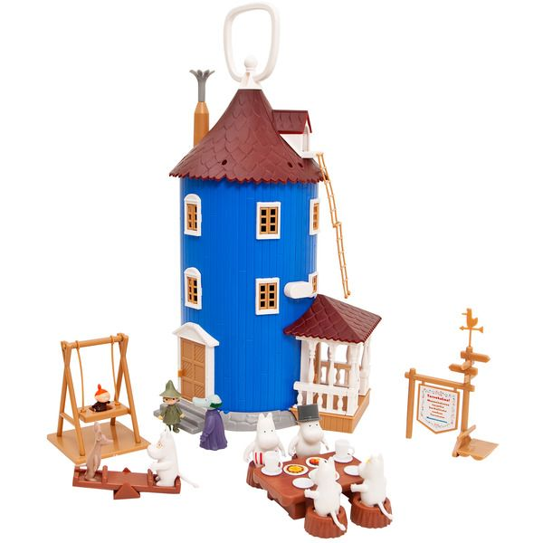 The Moomin House set includes nine different Moomin-characters and other stuff like furnitures. The house opens up and is 38cm wide as opened.
