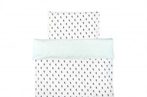 Double sided duvet set from Nukko Design. Monochrome with mint.