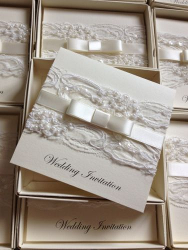 New Personalised/handmade Luxury Vintage Lace Bespoke wedding invitation sample | eBay