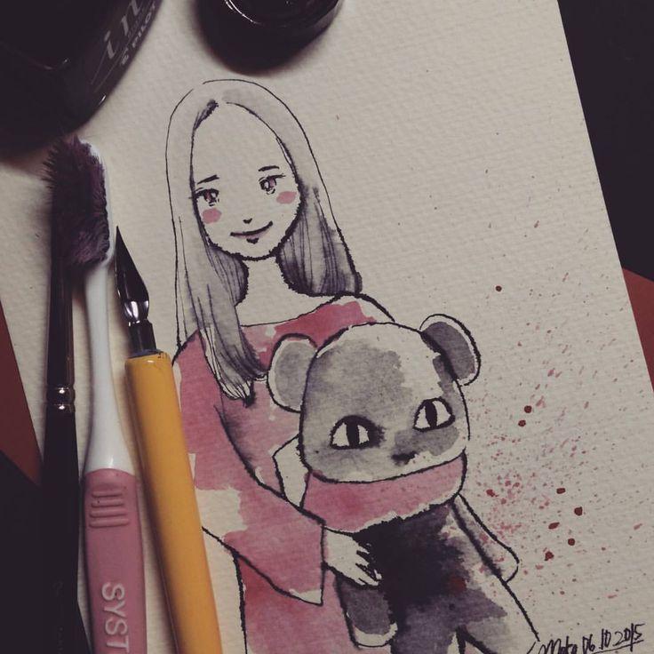 girl with her teddy #mekaworks #inktober #drawing #halloween