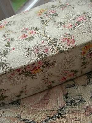 Divine antique vintage French trinket glove boudoir fabric covered box in Antiques