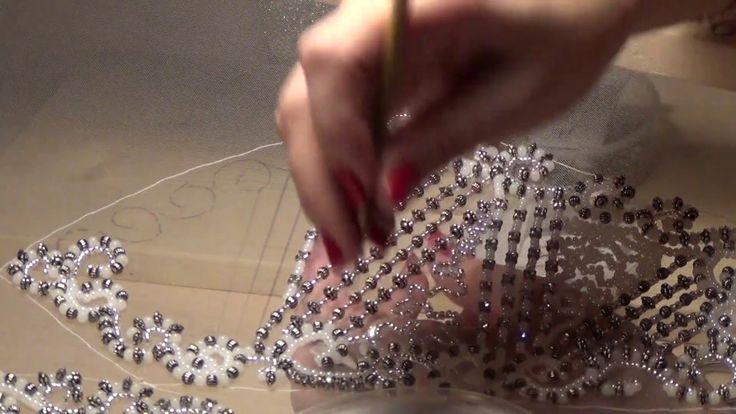 Вышивка бисером , люневильская вышивка свадебного платья
