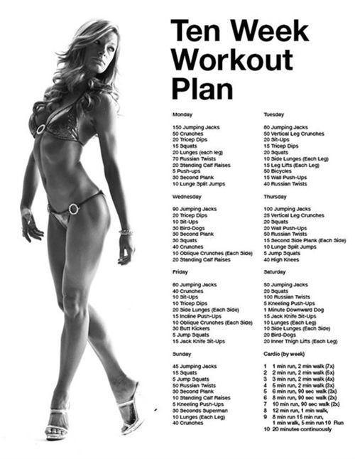 Ok don't like the pic but the workout looks good. 10 Week Workout Plan - use during 30 day cleanse, only walking and yoga on cleanse days.