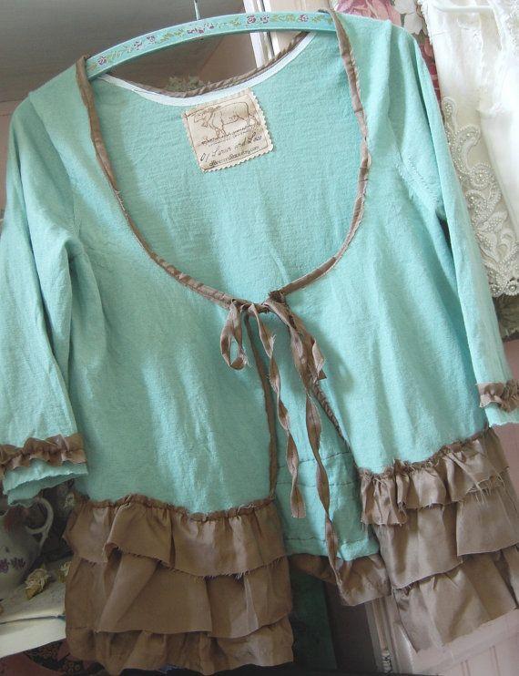 Wool Cardigan Sweater Womens Shabby Chic MEDIUM Merino Wool Upcycled Altered Clothing Mint Aqua Handmade Tattered Silk
