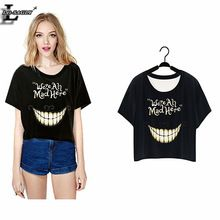 """We're All Mad Here"" Harajuku T-shirt Short Crop Tops Punk Sleeve Women Clothes 2016 Summer Style O-Neck T shirts F977(China (Mainland))"