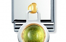 Nomination Stainless Steel and 18ct Gold 2K Hanging Peridot Charm