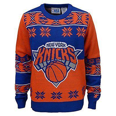 Other Basketball Clothing 158974: Nba New York Knicks Youth Boys Long Sleeve Ugly Sweater, Royal/Orange, Medium BUY IT NOW ONLY: $69.01