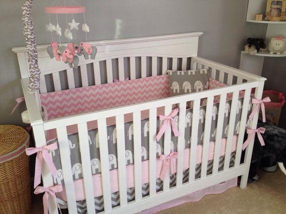 Pink And Gray Elephant Crib Bedding