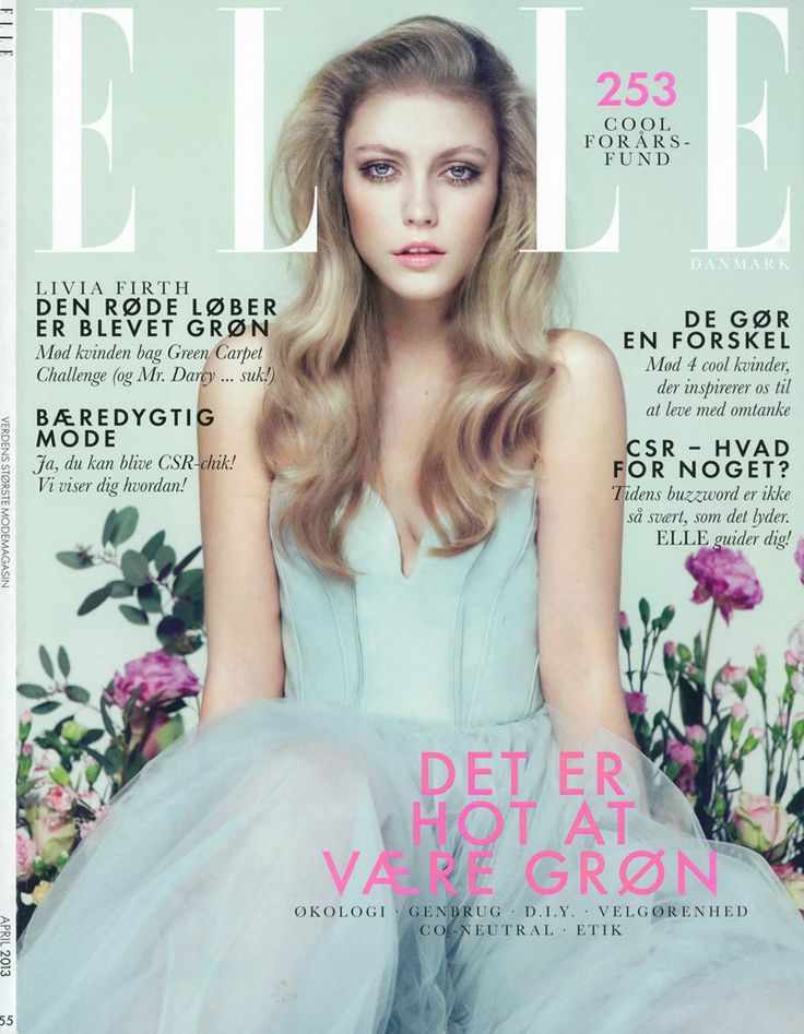 Lucia Jonova Wears Retro Florals for Elle Denmark's April 2013 Cover Shoot