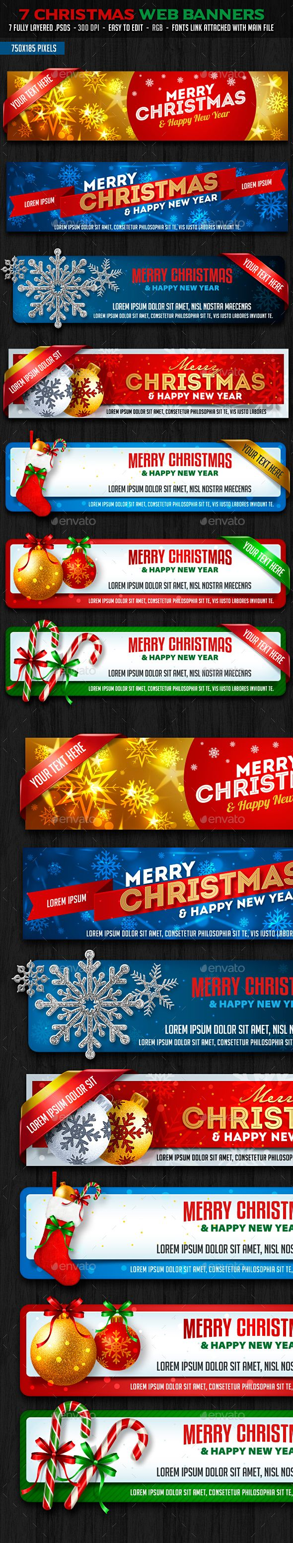 Christmas Web Banners Template PSD #design #ads Download: http://graphicriver.net/item/christmas-web-banners/13513588?ref=ksioks