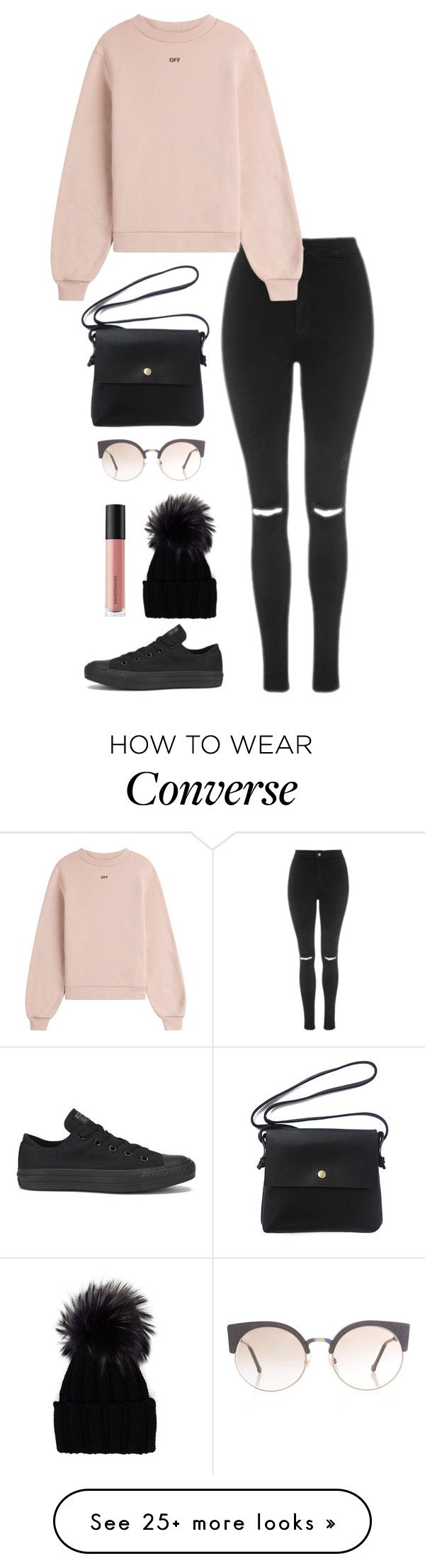 """Untitled #314"" by fofo-moon on Polyvore featuring Topshop, Off-White, Converse, RetroSuperFuture, Inverni and Bare Escentuals"
