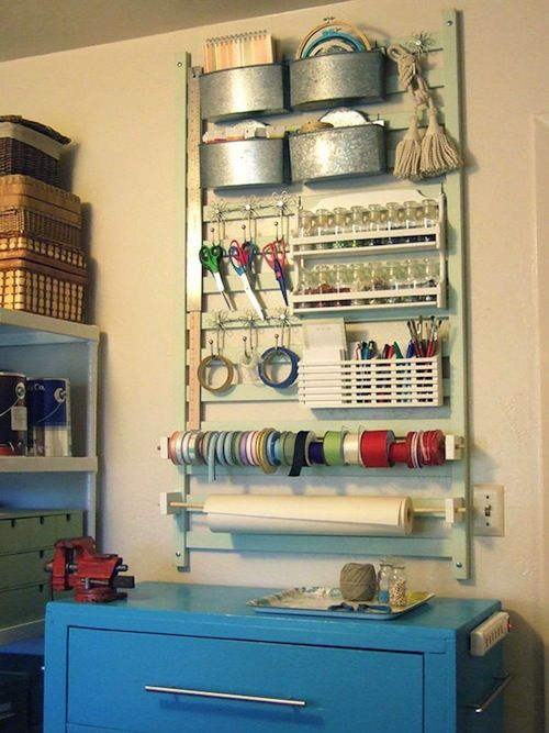 by the crafty nest. a craft/ office organizer made out of an old crib railing! #DIY