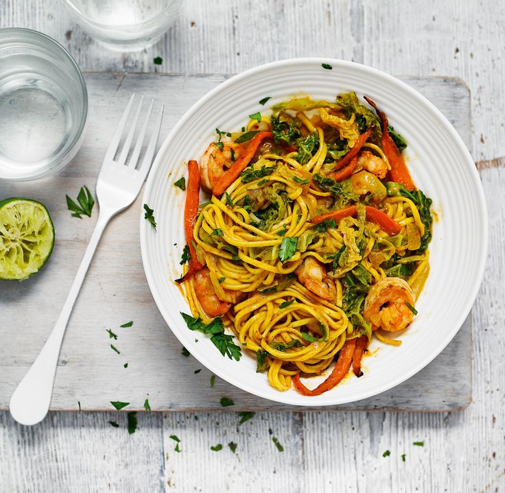 Quick prawn curry noodles - This easy recipe for quick prawn curry noodles is full of vibrant flavour and Thai curry heat.