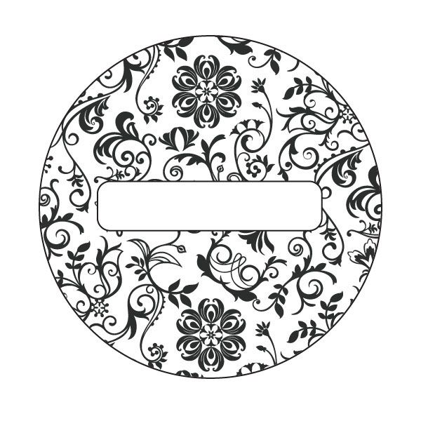 Free Printable Black & White Damask Lid Labels for Can-It-Forward Day from @Ball® Canning. Print this design on OnlineLabels.com item numbers OL325 & OL350