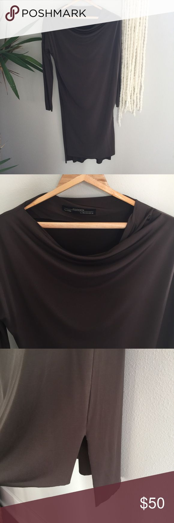 Allsaints dress Allsaints dress US size 4. Dark olive, stretchy elastic fabric, raw ends, boat neck, worn once! Perfect condition. All Saints Dresses Midi