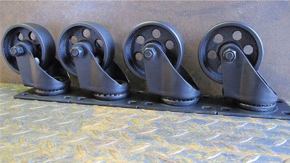 Set of 4 Industrial wheels , metal casters , steel wheels,