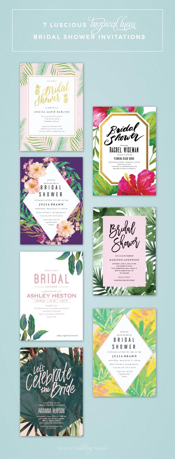 Best 25 tropical bridal showers ideas on pinterest tropical 7 luscious tropical bridal shower invitations lets luau monicamarmolfo Images