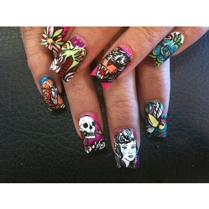 Sick Ed Hardy Nails Bro Next Nail Painting Sesh Aka Time I See You Week The Dream Team Mchenshaw Pinterest Mani Pedi