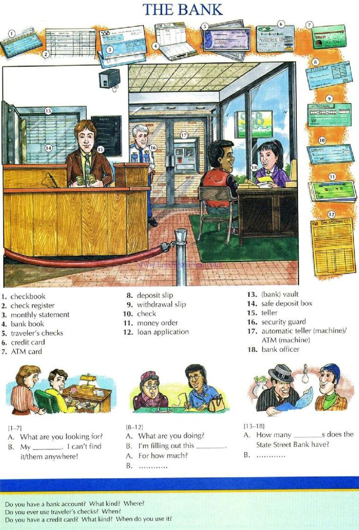 63 - THE BANK - Picture Dictionary - English Study, explanations, free exercises, speaking, listening, grammar lessons, reading, writing, vocabulary, dictionary and teaching materials