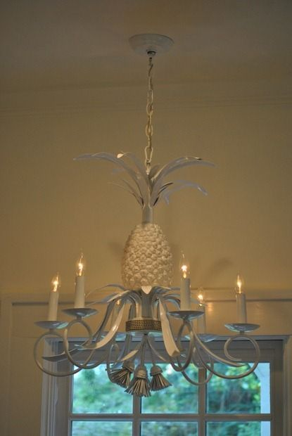 pineapple chandelier in kitchen