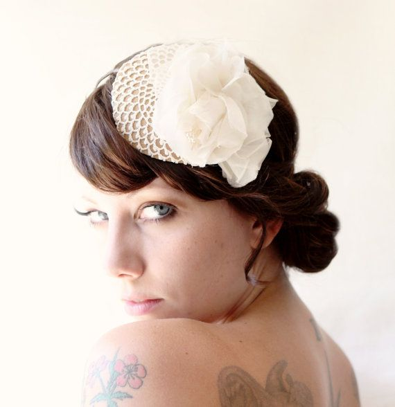 Ivory Vintage Rose Fascinator Vintage Crochet Wedding Hair Accessory Bridal Hair Band | My ...