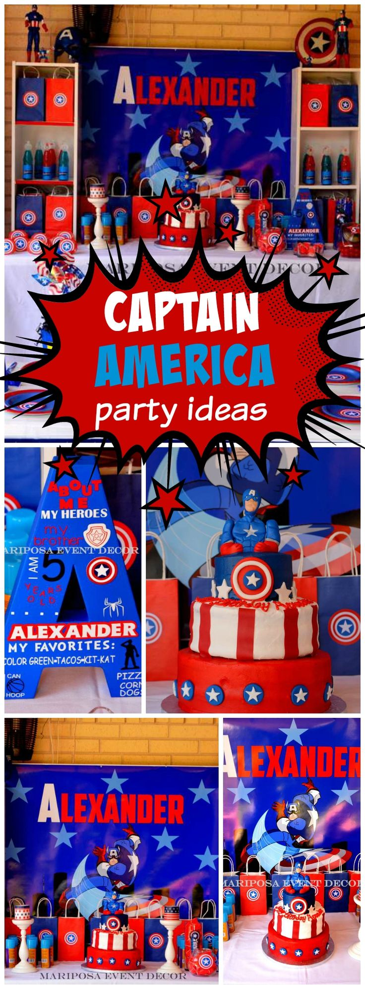 How cool is this red, white and blue Captain America party?! See more party ideas at CatchMyParty.com!