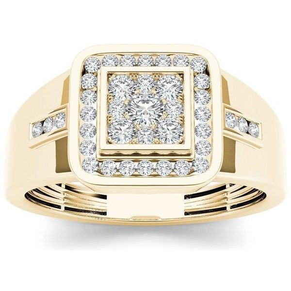 De Couer 10k Yellow Gold 1/2ct TDW Diamond Men's Cluster Ring ($733) ❤ liked on Polyvore featuring men's fashion, men's jewelry, men's rings et yellow