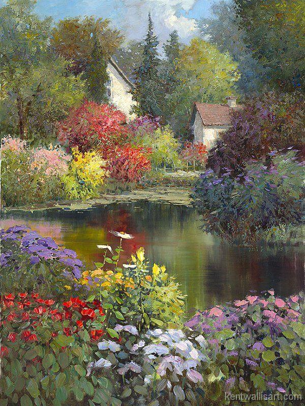 Water Garden Retreat by Kent R. Wallis born January 10 1945, in Ogden, Utah.