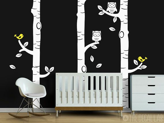 Birch Trees Wall Decor with Owls and Birds  Floor to by DecalLab