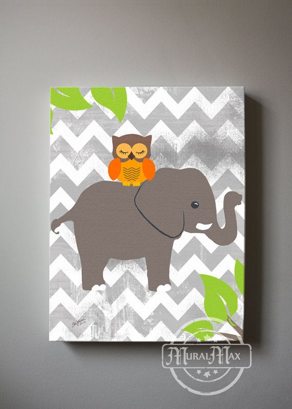 Owl and Elephant canvas art  Baby Nursery print  by MuralMAX