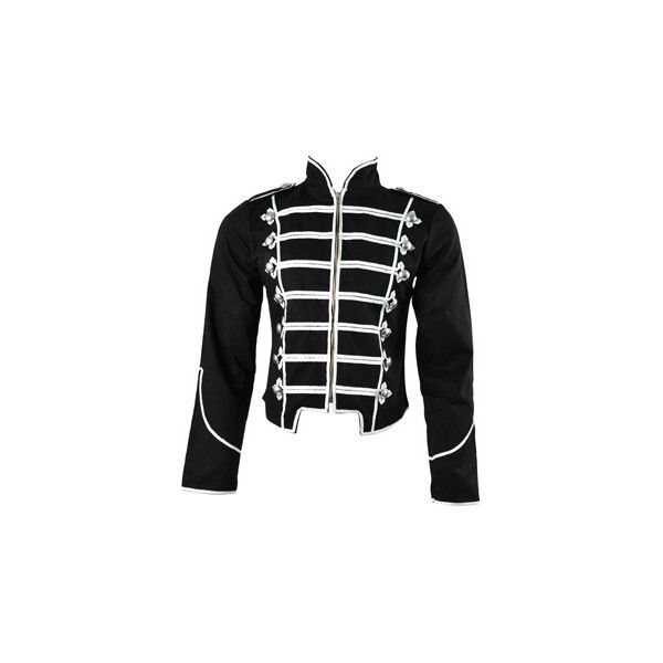 Blacklist Grid Military jacket – black parade coats – mens gothic... ($59) ❤ liked on Polyvore featuring mens, men's clothing, men's outerwear, men's jackets and jackets