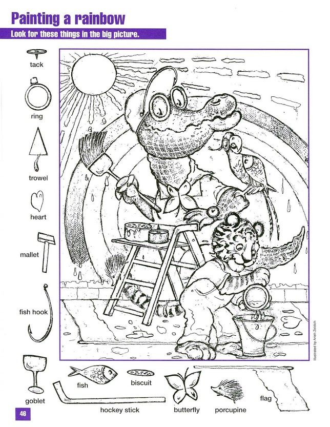 Hidden Pictures Colouring Pages Pinterest