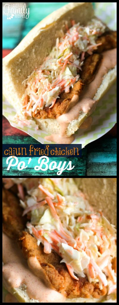 These Cajun Fried Chicken Po Boys with Spicy Remoulade Sauce are the prefect way to celebrate Mardi Gras! This sandwich is a true New Orleans favorite! via @favfamilyrecipz