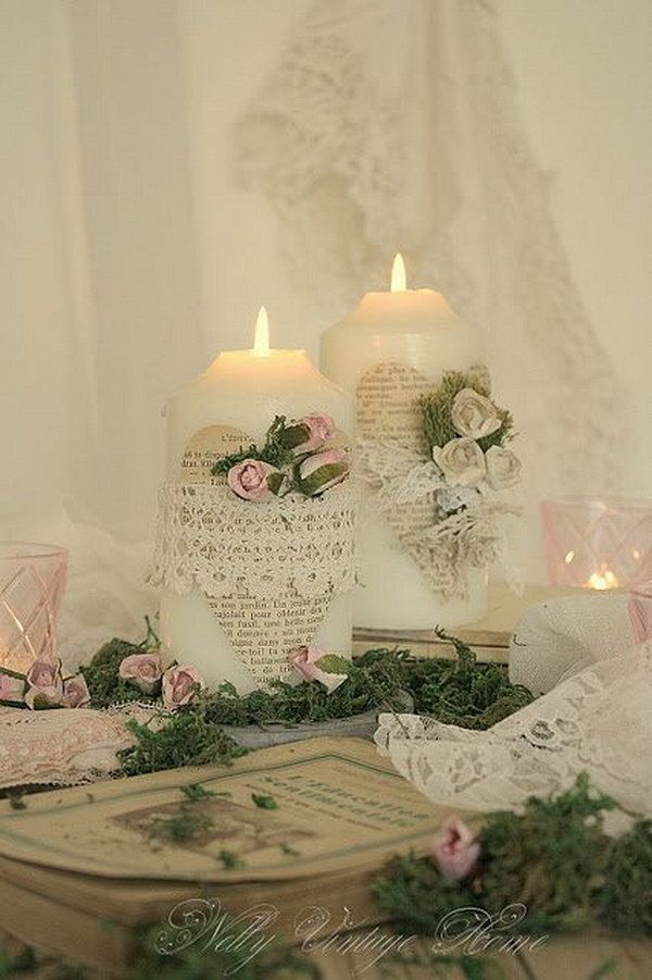 Vintage Lace and Bookpage Candle Wrap