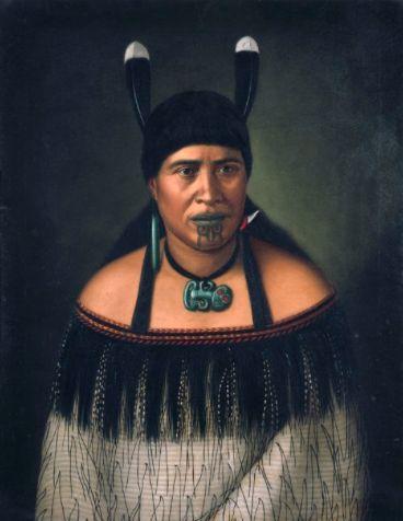 Portrait of Hinepare of Ngāti Kahungunu by Gottfried Lindauer, showing chin moko, pounamu hei-tiki and woven cloak.