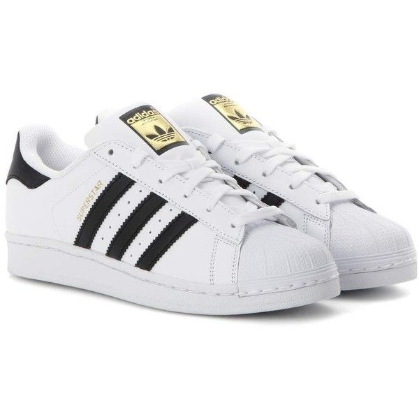 Adidas Originals Superstar Leather Sneakers ($110) ❤ liked on Polyvore featuring shoes, sneakers, adidas, trainers, zapatillas, white, genuine leather shoes, adidas originals sneakers, real leather shoes and leather trainers