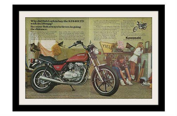 1980 KAWASAKI KZ440 & pom-pom girl moto publicité, publicité Vintage imprimée