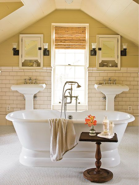 Website With Photo Gallery Created from unused attic space the master bath glistens with white subway and reproduction hexagonal tile Get Jamie us Renovation Tips