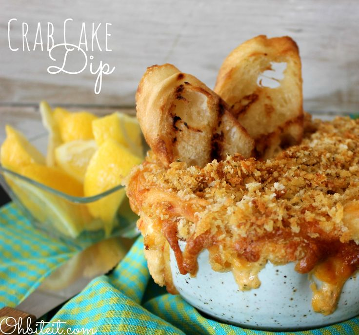 Crab Cake Dip - sounds incredible! Crab, cream cheese, Cheddar and Parmesan cheeses, Old Bay, panko & breadcrumbs, etc. Wow.