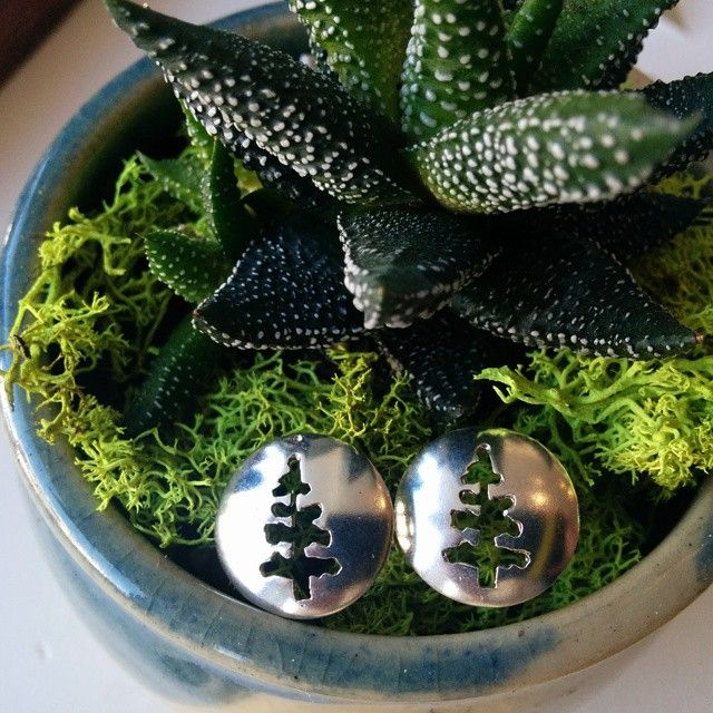 Spruce Studs, fresh for Spring! #slashpiledesigns #plantatree #jewellery #earrings