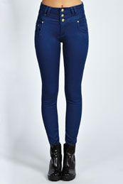 Mollie 3 Button High Waist Skinny Jeans