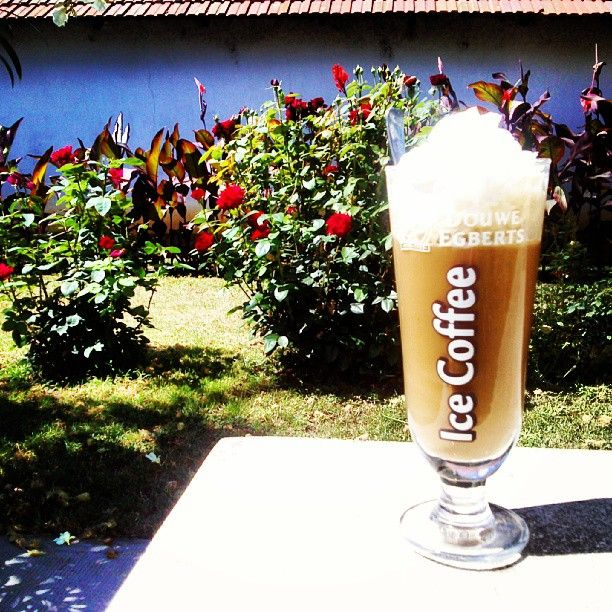 Good morning :) #icecoffee # morning #rose #whippedcream