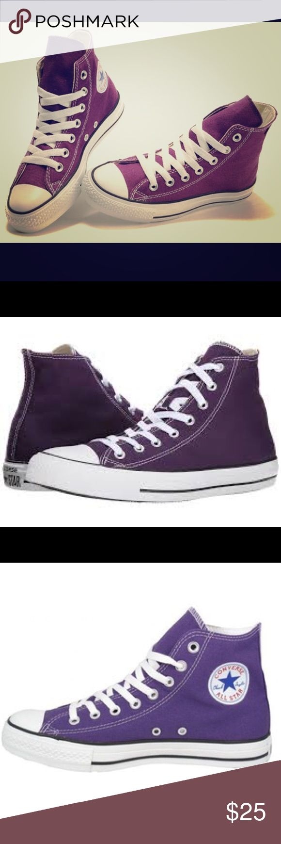 NWOB Purple Converse High Top Sneakers Unisex Classic Chucks! NWOB Purple Converse High Tops Size 8 Women's or 6 Men's. Sporty and fun! Converse Shoes Sneakers