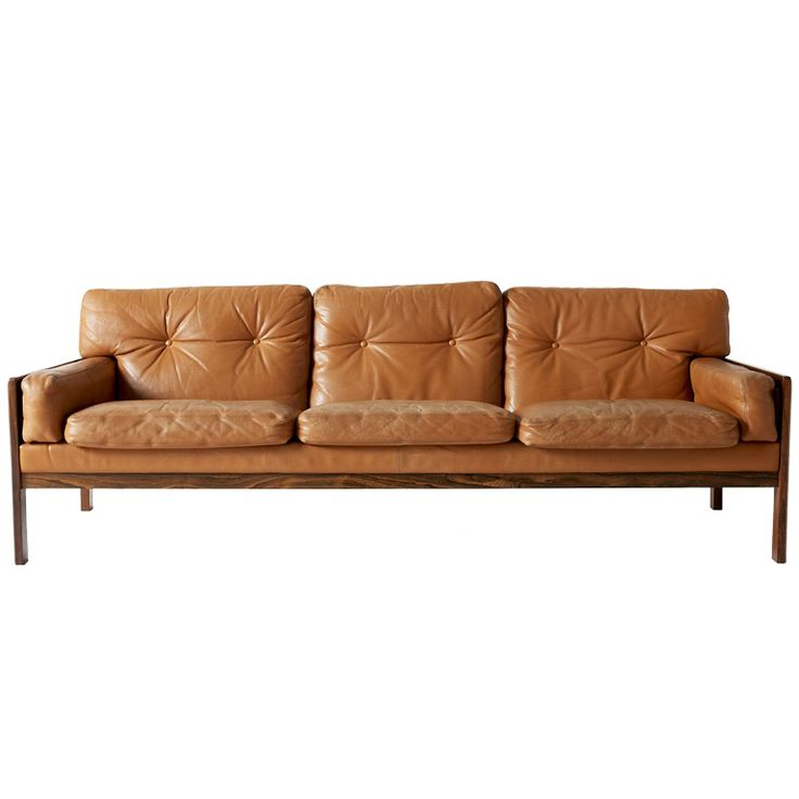 Danish rosewood and cognac leather tufted sofa