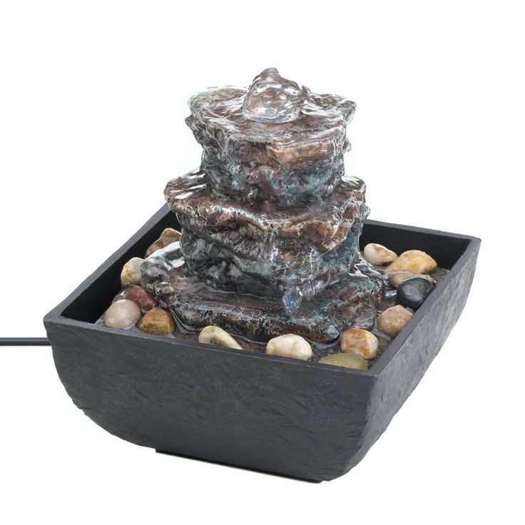 Indoor Water Fountain Tabletop, Polyresin Decorative Small Water Fountains