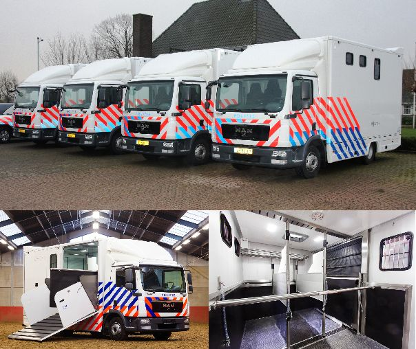 Dutch police horseboxes to carry three horses each.