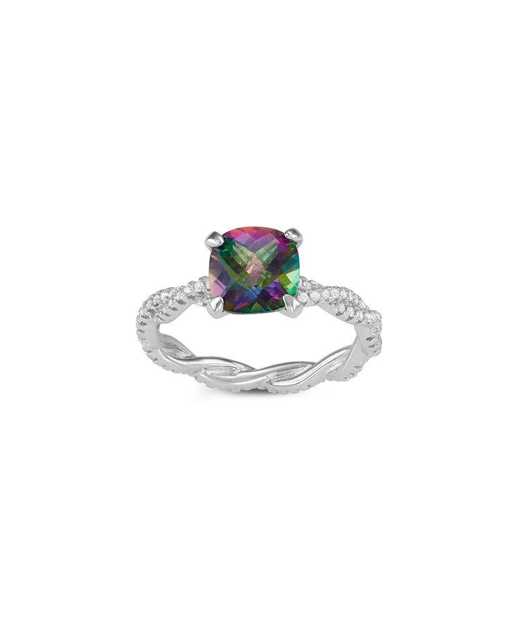Mystic Green Topaz® & Cubic Zirconia Cushion-Cut Twist Ring