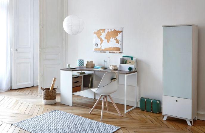 Bureau Dangle Alkor Imitation Chene Clair Blanc Mobilier De Salon Meuble D Angle Et Bureau Angle