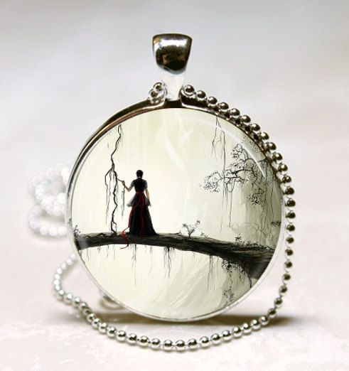Gothic Jewelry Spooky Woman Silhouette Enchanted Forest Fantasy Art Pendant with Ball Chain Necklace Included