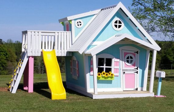 The BIG Playhouse XL - Slide Platform with Rock Climbing Wall, Dormer, Loft, Interior Paint, Complete Fun Package, Shutters, and Flower Box